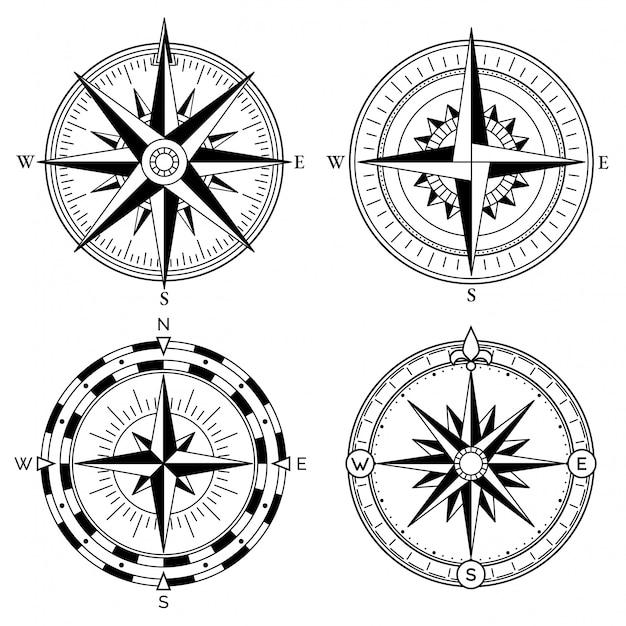 Роза ветров ретро дизайн векторная коллекция