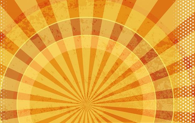 明るい太陽の効果を持つベクトルの背景。コミックブックオレンジグランジ。ハーフトーンドット