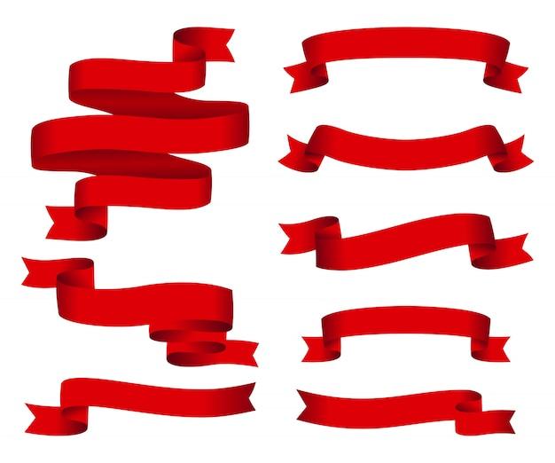 赤い光沢のあるリボンベクトルバナーセット
