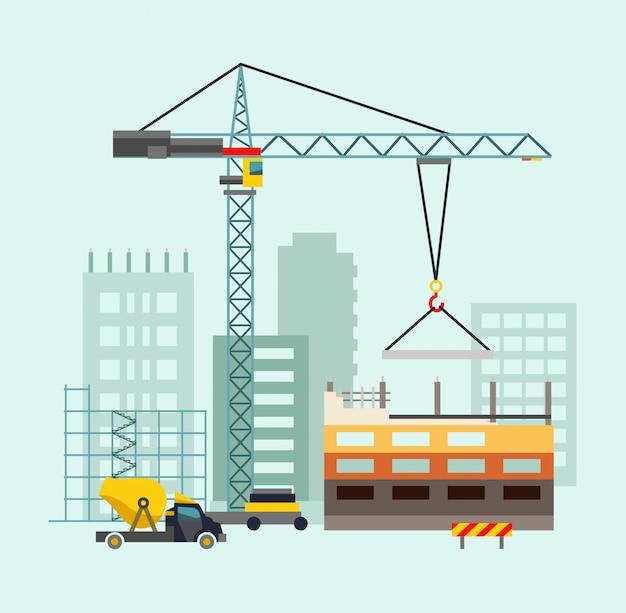住宅や建設機械を使った建築作業プロセス