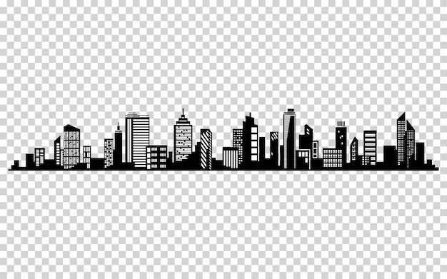 都市シルエットをベクトルします。都市の景観ベクターデザイン。