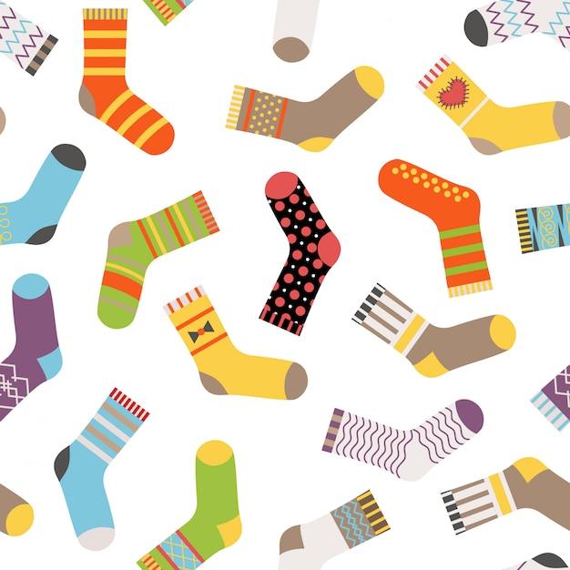 シームレスパターンのカラフルなソックス。さまざまなパターンの靴下。