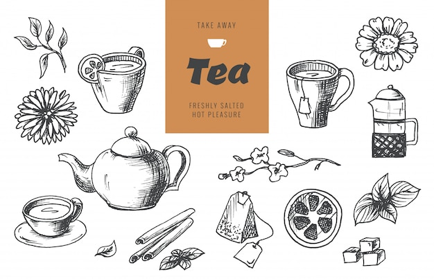 グラフィックスタイル、手描きのベクトル図のお茶コレクション要素