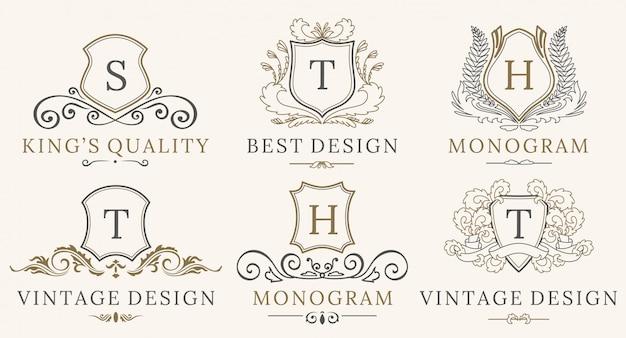 レトロロイヤルヴィンテージシールズロゴタイプセット。ベクトル書道高級ロゴデザイン要素。