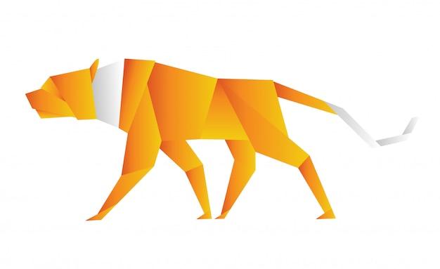 Иллюстрация оригами тигра оранжевого цвета
