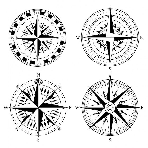 Роза ветров ретро дизайн векторная коллекция. винтажная морская или морская роза ветров