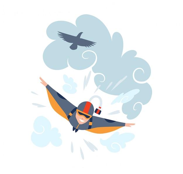 Прыжки с парашютом векторная иллюстрация спорта. экстремальный спорт фон. костюм для прыжков с парашютом