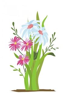 花壇。野生の森と庭の花のセットです。春のコンセプト