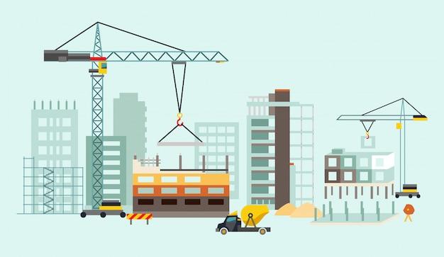 住宅や建設機械による建築作業工程