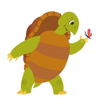 Векторная иллюстрация милый мультфильм черепаха на белом