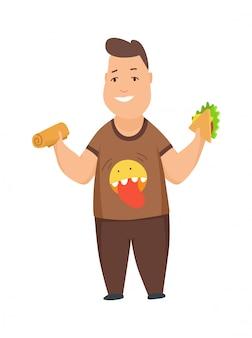 太りすぎの少年かわいいぽっちゃり子供の漫画のキャラクターがファーストフードを食べる