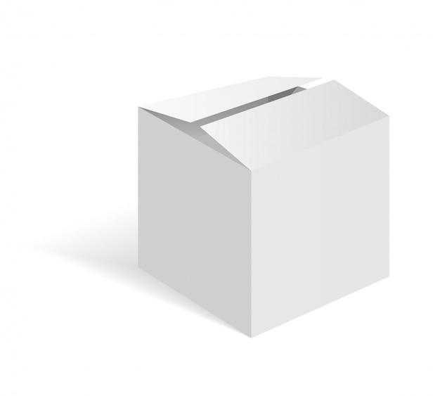 Белая пустая картонная коробка