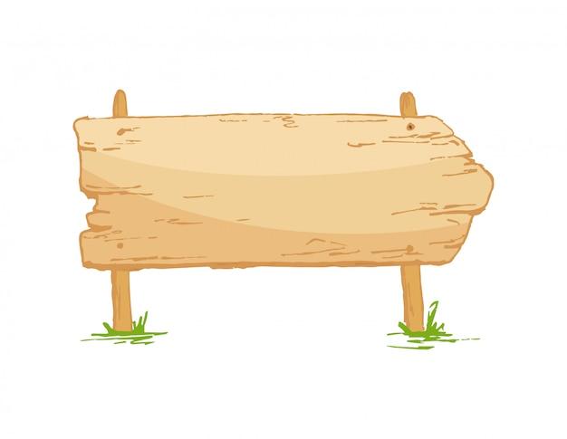 きのこと草の上の古い木製看板