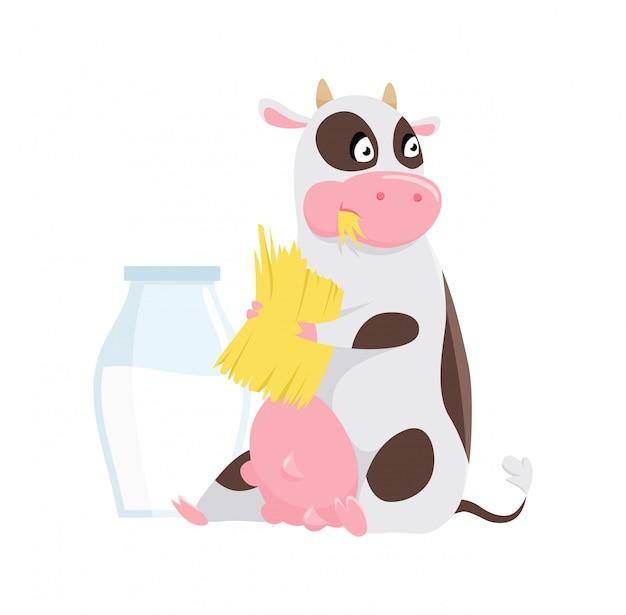 Милая пятнистая корова ест траву