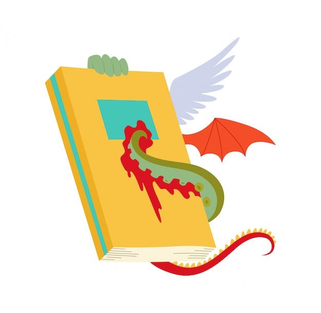 ドラゴンの羽とタコの触手のあるアンティークの本私