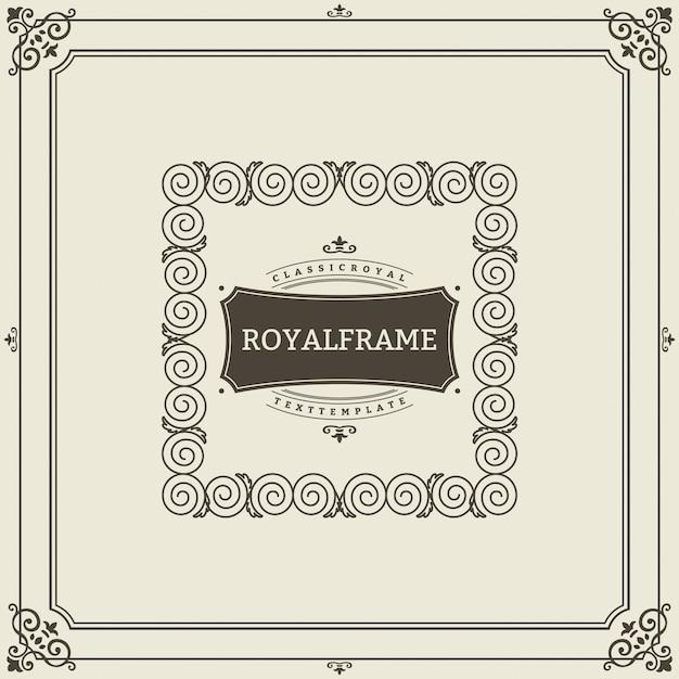 ビンテージ飾りグリーティングカードベクトルテンプレート。レトロな豪華な招待状、ロイヤル証明書。フレームを盛り上げます。ビンテージ飾り、装飾用フレーム