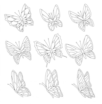 Страница книжка-раскраска бабочек, изолированных на белом