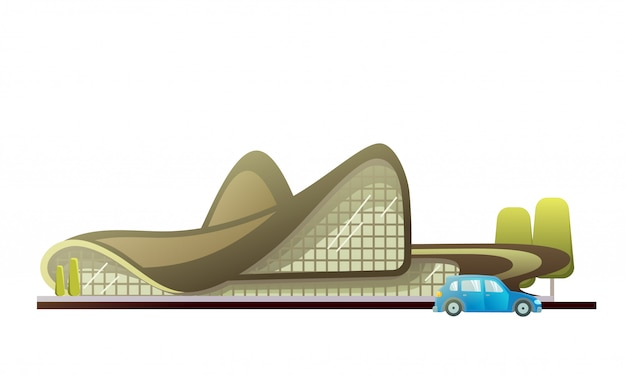 Дизайн театрального здания с машиной и деревьями