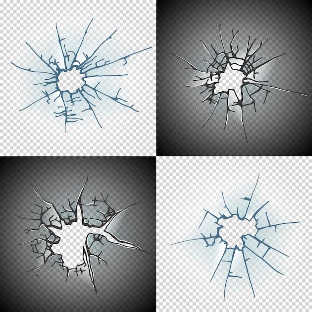 壊れた窓ガラスやドアのひびの入った穴リアルな透明ガラスの分離