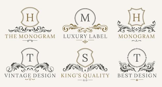 Ретро королевский винтаж шилдс логотип набор. роскошный логотип дизайн шаблона