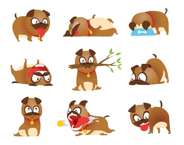子犬の活動を設定します。漫画犬セット。犬のトリックと行動訓練