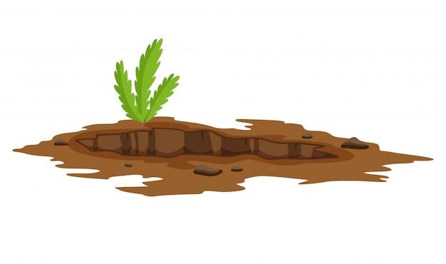 大きな穴、地面のイラスト。砂の石炭廃棄物の岩と砂利のイラストを掘る地上工事。