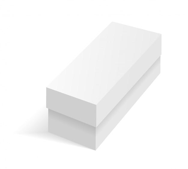 白い空白の段ボールパッケージボックス。段ボール箱、パッケージ、コンテナーの図。