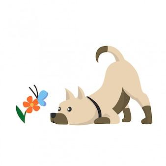 花と蝶とかわいい犬のイラスト。