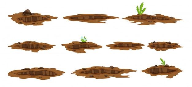 大きな穴が地面の図を設定します。砂炭廃棄物の岩石や砂利のイラストの地面の掘削。