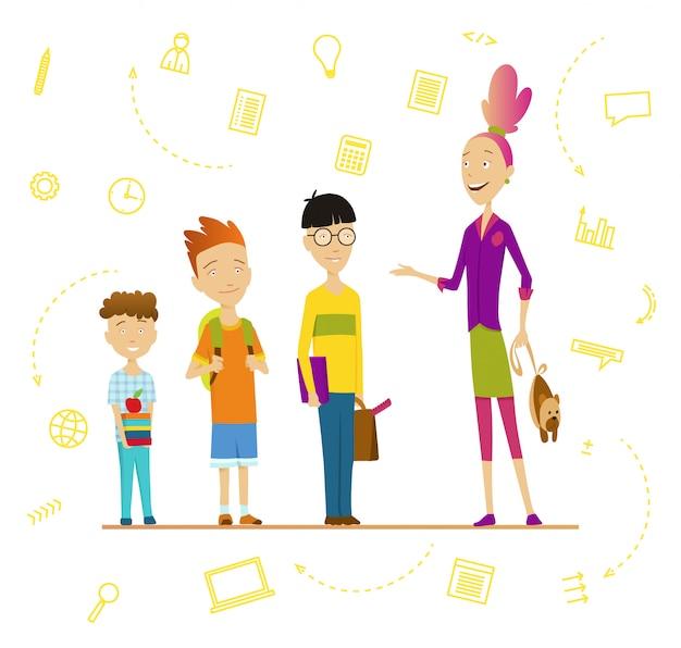 小学生と先輩。学校の男の子と女の子のバックパックと本、学童の肖像画。