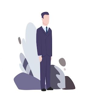 ビジネスキャラクターのポーズとアクション。立っている実業家。