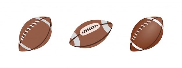 アメリカンフットボールボール、白い背景で隔離されました。リアルなイラスト。ラグビースポーツ。