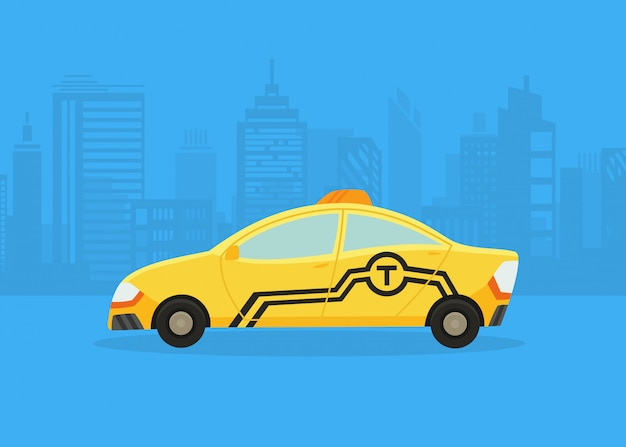 街のパノラマの車。タクシーサービス。黄色のタクシー。タクシーの申し込み、高層ビルとタワーのある街のシルエット。