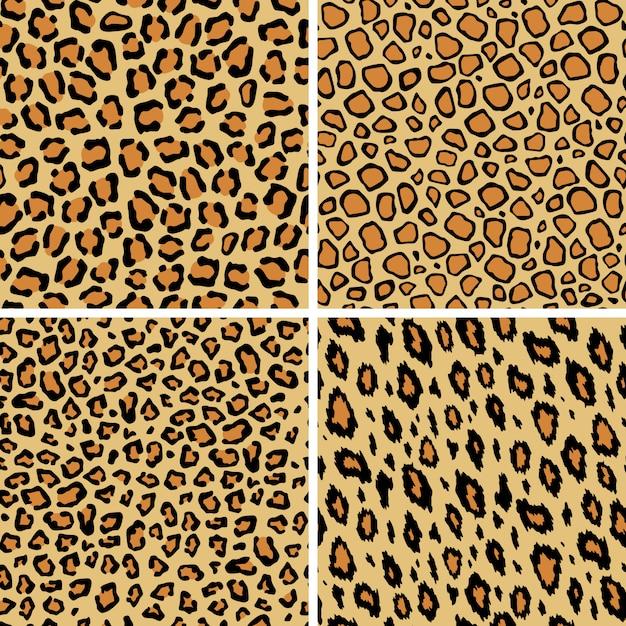 ヒョウの皮のシームレスなパターンのセット。野生の猫のテクスチャを繰り返します。抽象的な動物の毛皮の壁紙。