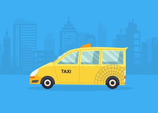 Автомобили на панораме города. такси сервис. желтое такси.