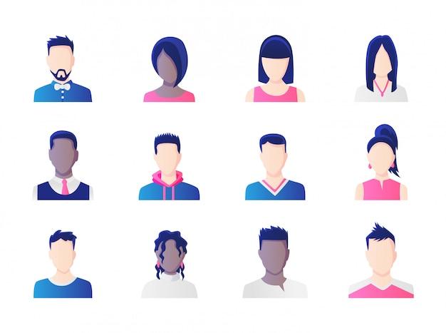 アバターセット。働く人々の多様性、多様なビジネスの男性と女性のアバターアイコンのグループ。フラットなデザインの人々のキャラクターのイラスト。