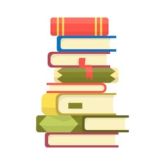 本の山。本ベクターイラストの山。フラットスタイルの本のアイコンスタック。