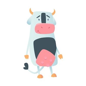 白で隔離フラットスタイルでかわいい牛。図。漫画の牛。