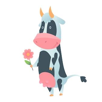 白い背景で隔離のフラットスタイルでかわいい牛。