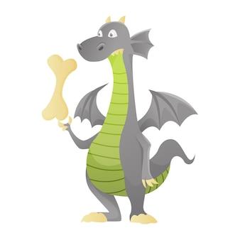 Дракон мультфильм вектор милый стрекоза дино персонаж ребенок динозавр для детей сказка дино иллюстрации изолированных