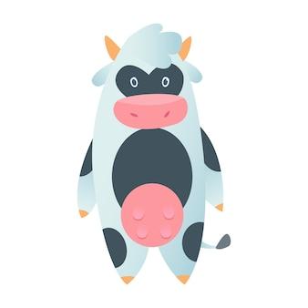分離されたフラットスタイルのかわいい牛。ベクトルイラスト。漫画の牛。