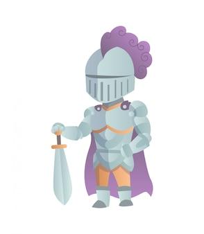 フルアーマーフラットイラストで中世の騎士。コミック風刺画。面白い漫画の騎士。