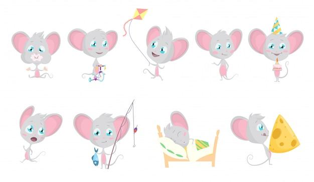 かわいいグレーのマウスセット