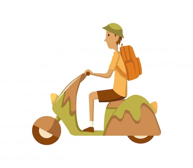 レトロなスクーターで通勤する若い男を備えたベクトル現代創造的なフラットなデザインイラスト。古典的な探している原付け、サイドビューに乗って男