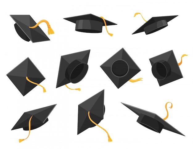 フラットスタイルの卒業の帽子または帽子のイラスト。アカデミックキャップセット