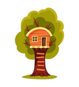 樹上の家。スイングと梯子のある子供の遊び場。フラットスタイルの図。プレイやパーティーのためのツリーハウス。子供のための木の家。