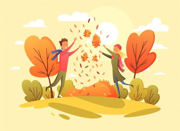 Счастливые люди в осеннем парке. тенденция цветов. иллюстрация в мультяшном стиле.