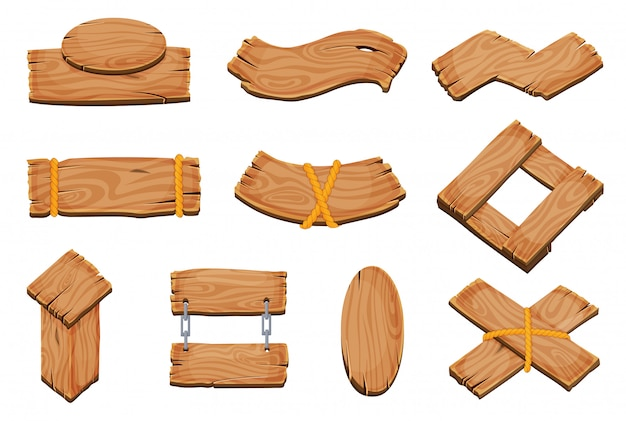 Мультяшные деревянные пустые вывески, баннеры и ленты, западные вывески