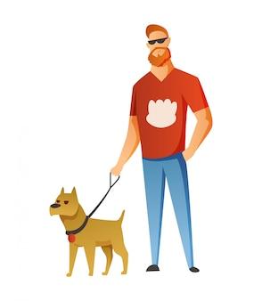 白い背景で隔離の犬を持つ男