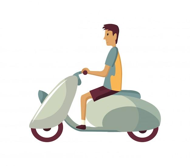 レトロなスクーターで通勤する若い男を備えたモダンな創造的なフラットなデザインイラスト。古典的な探している原付け、サイドビューに乗って男